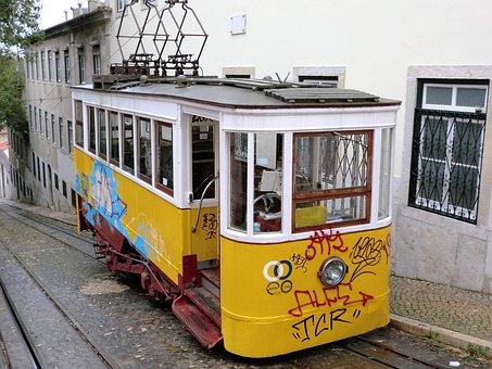 Transport, Tram, Lisbon, Rails, Public Transport