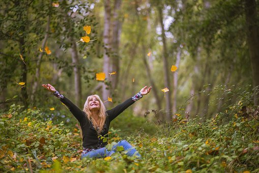 Trees, Forest, People, Women, Portrait, Dream, Autumn