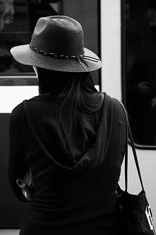 Woman, Hat, Black And White, Girl, Young, Female