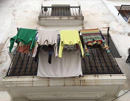 Laundry, Balcony, Ibiza, Wash, Was Dry, Mediterranean