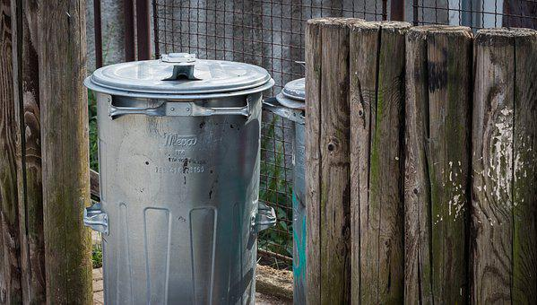 Bin, Wooden Fence, Waste, Litter, Atmosphere