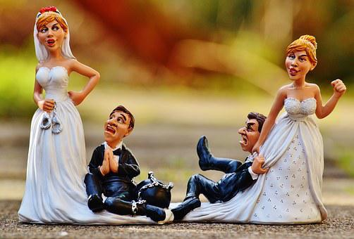Women's Power, Funny, Bride And Groom, Handcuffs