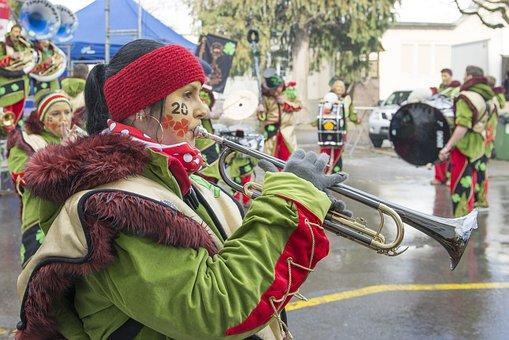 Music, Carnival, Costume, Instrument, Trumpet, Glarus