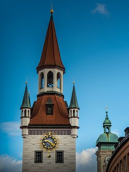 Munich, Churches, Steeples, Clock, City, Architecture