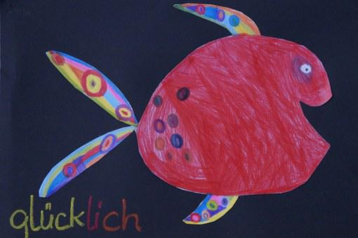 Fish, Colorful, Cheerful, Children Drawing, Child