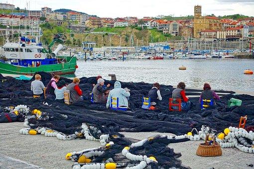 Netting, Repairs, Fishing, Women, Fixing, Port