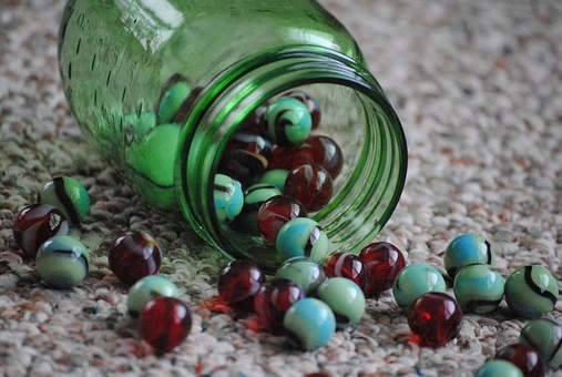 Marbles, Jar, Marble, Glass, White, Bright, Green