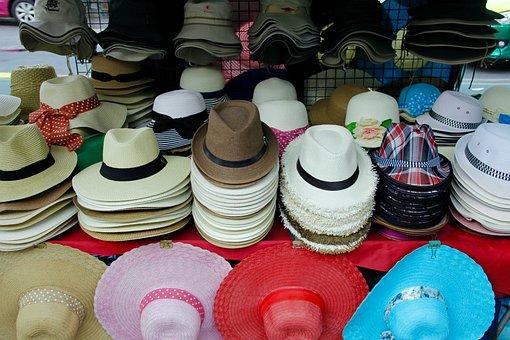 Hat, Cap, Market, Headwear, Clothing, Sale, Straw Hat