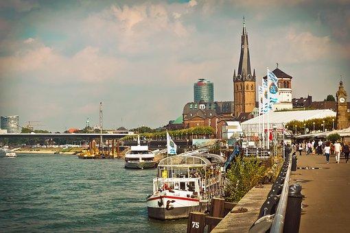 Düsseldorf, Rhine, Historic Center, Water, City, Ship