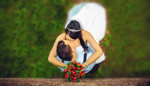 Wedding, Couple, Kissing, Embrace, Hugging, Together