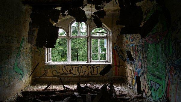 Vandalism, Indoor, Windows, Chaos, Urban, Art, Wall