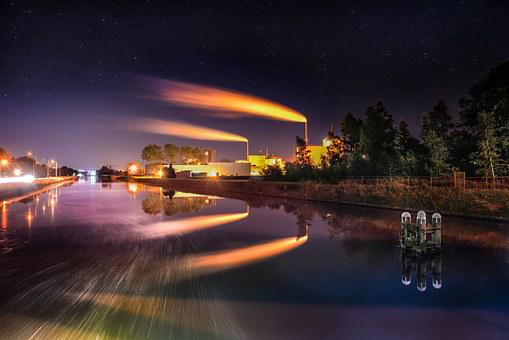 Factory, Night, Long Exposure, Industry, Power