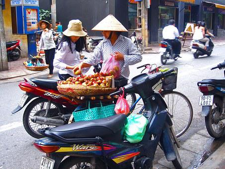 Vendor, Fruits, Women, Woman, Ladies, Hat, Vietnamese