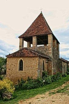 France, Dordogne, Périgord, Limeuil, Church, Bell Tower