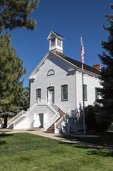 Old Church, Pine Valley, Utah, Usa, Flag, Vintage