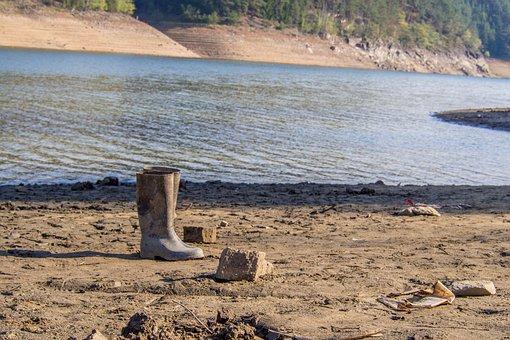 Women Boots, Shoe, Bank, Beached, Water, Orlík Dam