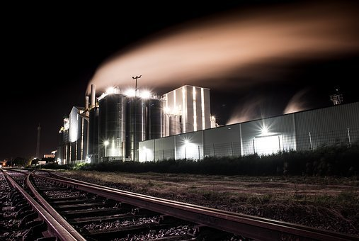 Factory, Night, Smoke, Industry, Plant, Industrial