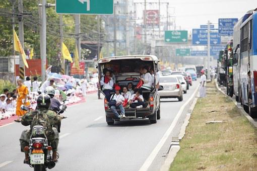 Thailand, Street, Road, Car, People, Overload, Traffic