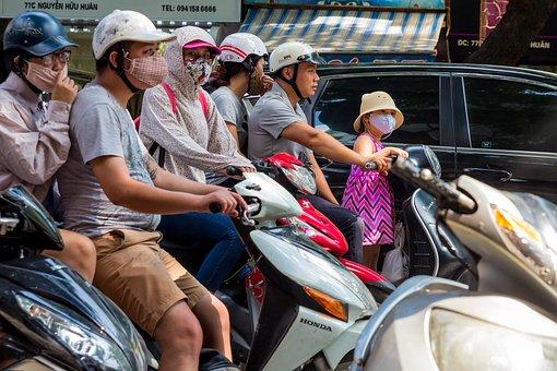 Scooter, Helmet, Safety, Girl, Pollution, Children