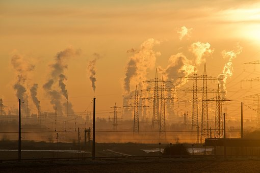 Industry, Sunrise, Sky, Air, Pollution