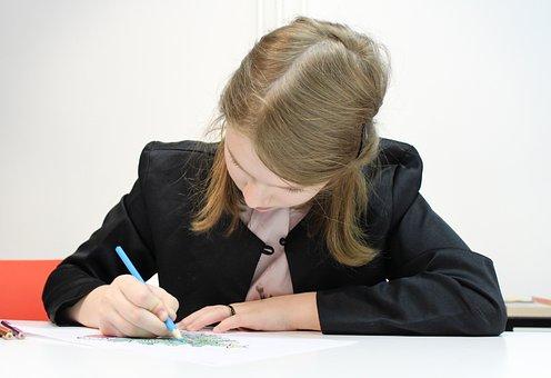 Girl, Apprentice, Letter, Lesson, Schoolboy, Study, Pen