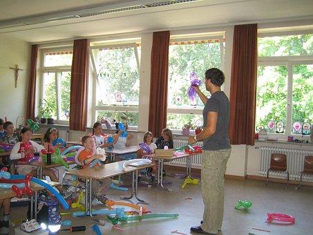 School, Teaching, Balloon Knot, Ballons, Kreativtät