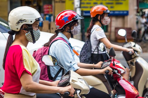 Scooter, Helmet, Mask, Girls, Three, Vietnam, Hanoi
