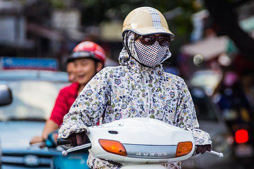 Scooter, Traffic, Helmet, Fashion, Mask, Pollution