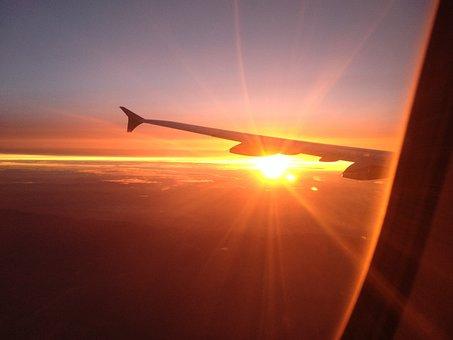 Airplane, Plane, Sunshine, Sunset, Transportation