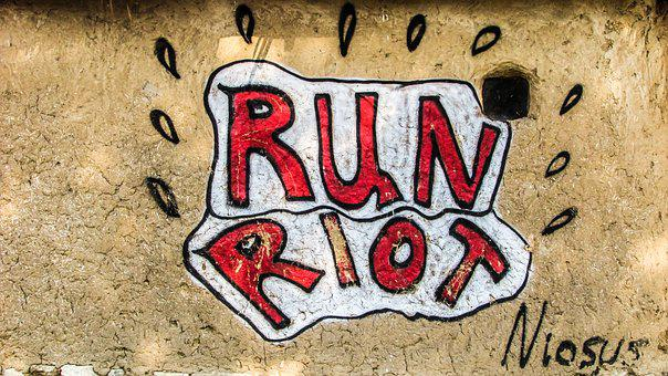 Run Riot, Anarchy, City, Urban, Graffiti, Wall, Riot