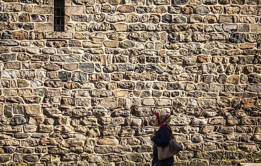 Human, Wall, Woman, Street, Walking, Muslim, Hidjab