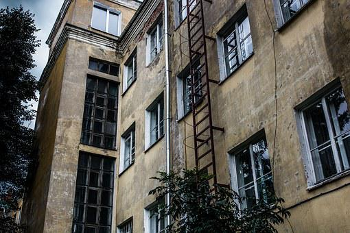 Old Building, Ladder, Window, Trumpet, Old House