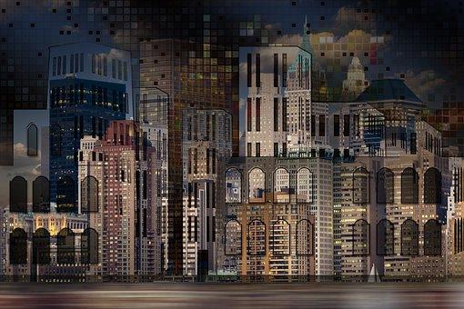 Architecture, City, House, Window, Collage, Scene