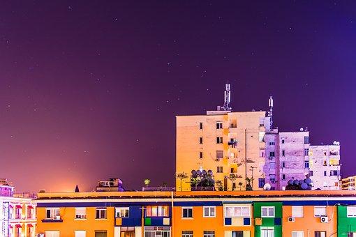 Night, Long Exposure, Tirana, Architecture, City Lights