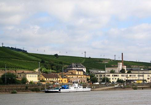 Rüdesheim, Rhine, Bank, Landscape, City