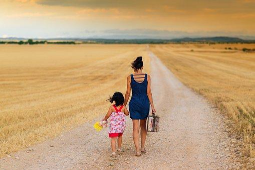 Mother, Child, Walking, Walk, Strolling, Dirt Road