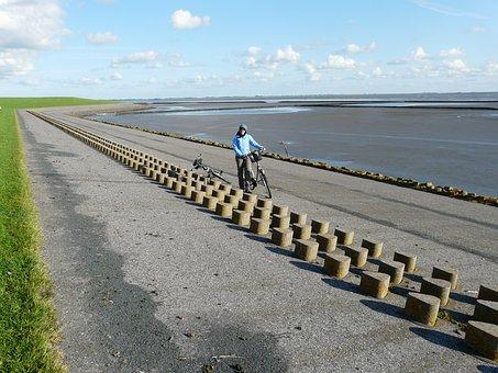 Dike, Dike Road, North Sea, Nordfriesland, Cycling