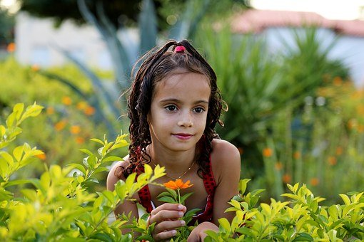 Girl In The Garden, Model, Child, Family, Green Grass