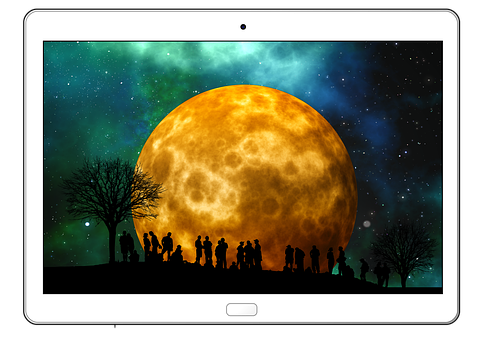 Tablet, Tree, Kahl, Moon, Human, Group, Silhouette