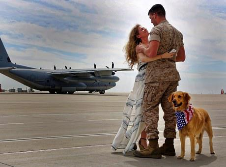 Army, Homecoming, Aircraft, Runway, Dog, Man, Woman