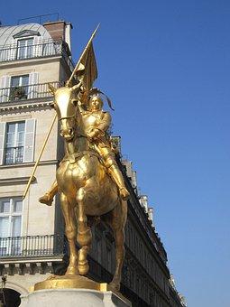 Joan Of Arc, Statue, Golden, Sculpture, Golden Statue