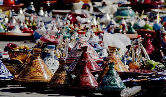 Tajine, Colorful, Pottery, Morocco, Meknes