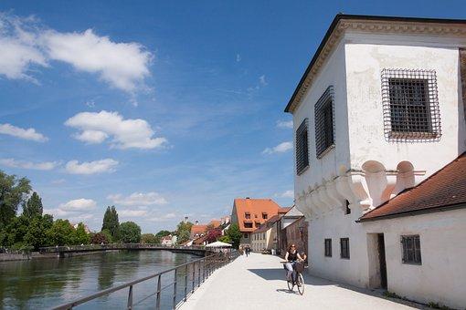 Bicycle Path, Bank, Promenade, Water, Waters, Mirroring