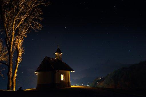 Chapel, At Night, Dark, Illuminated, Mountain