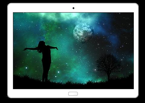 Tablet, Moon, Woman, Silhouette, Joy, Person, Human