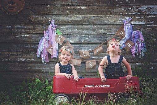 Twins, Girls, Wagon, Family, Two, Cute, Siblings