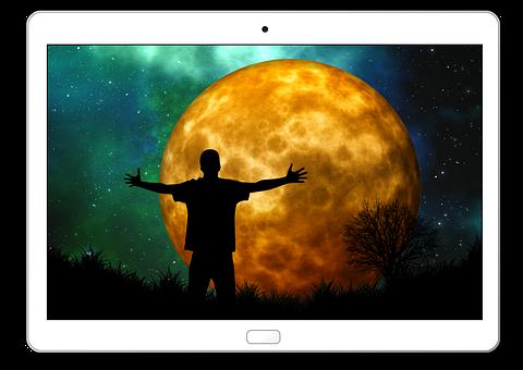 Tablet, Moon, Man, Silhouette, Joy, Person, Human