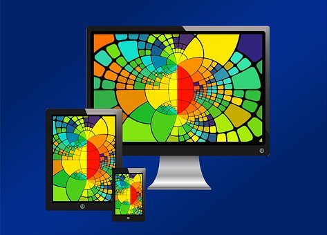 Tablet, Smartphone, Monitor, Colorful, Color