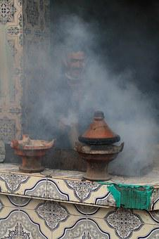 Morocco, Lunch, Cooking, Tajine, Smoke, Cook, Tiles