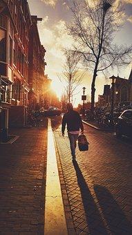 Walk, Stroll, Sun, Sunset, Baggage, Travel, Traveler